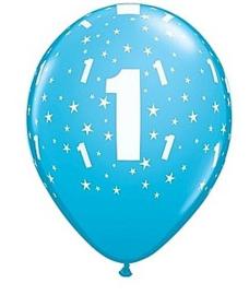 Leeftijd ballonnen 1 jaar licht blauw ø 28 cm. 6 st.