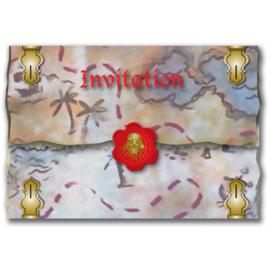 Piraten uitnodigingen 8 st.