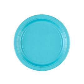 Turquoise wegwerp gebakbordjes ø 17,8 cm. 8 st.