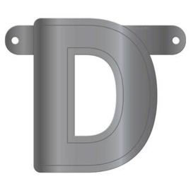Banner letter D metallic zilver