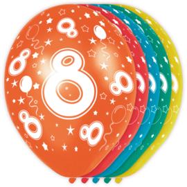 Ballonnen 8 jaar assorti ø 30 cm. 5 st.