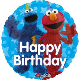 Sesamstraat folieballon happy birthday ø 43 cm.
