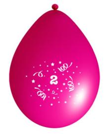 Ballonnen party fuchsia 2 jaar ø 33 cm. 6 st.