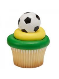 Voetbal cupcake ringen 6 st.