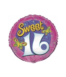 Sweet Sixteen folieballon butterfly ø 45,1 cm.