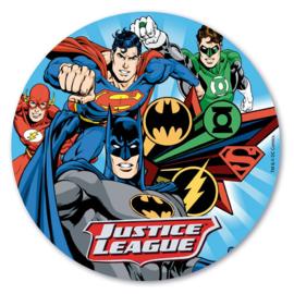 Justice League ouwel taart decoratie ø 20 cm.