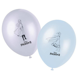 Disney Frozen 2 ballonnen lila - licht blauw ø 28 cm. 8 st.