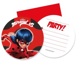 Ladybug uitnodigingen party 6 st.