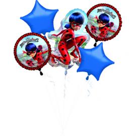 Ladybug Miraculous folieballonnen boeket 5-delig