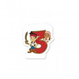 Disney Jake en de Nooitgedachtland piraten 3e verjaardag taart kaars