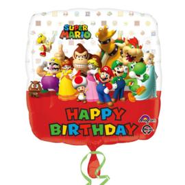 Super Mario Bros happy birthday folieballon 43 cm.