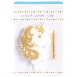 Unicorn taart kaars houder en gouden taart kaarsje