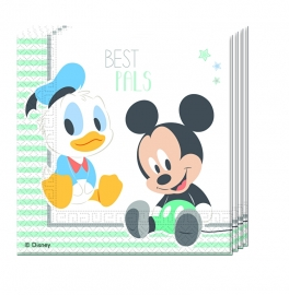 Disney Baby Mickey Mouse en Donald Duck servetten 33 x 33 cm. 20 st.