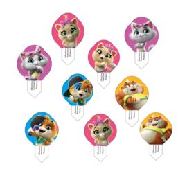 44 Cats cupcake ouwel decoratie 3,5 x 5,5 cm. 16 st.