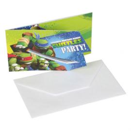 Ninja Turtles uitnodigingen 6 st.