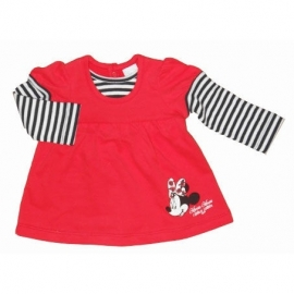 Disney Minnie Mouse longsleeve rood met wit blauw gestreepte mouwen mt. 62