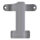 Cijfer banner 1 metallic zilver