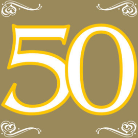 Gouden servetten 50 jaar 33 x 33 cm. 20 st.