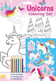 Unicorn kleur- en stickerset