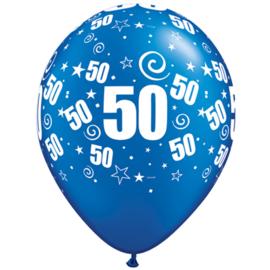 Ballon royal blue cijfer 50 ø 27,5 cm. 6 st.