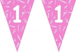 Vlaggenlijn roze 1 jaar 5 mtr.