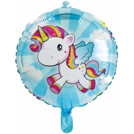 Eenhoorn folieballon ø 45 cm.