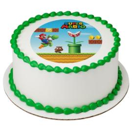 Super Mario Bros frosting taart decoratie ø 18 cm.