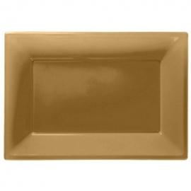 Gouden wegwerp serveerschalen set 32 x 23 cm. 3 st.