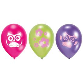 Happy Owl ballonnen ø 22,8 cm. 6 st.