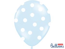 Licht blauwe met witte stippen ballonnen ø 30 cm. 6 st.