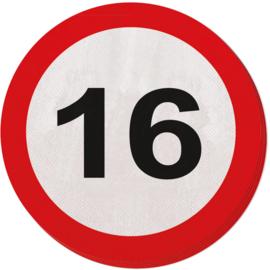 Servetten verkeersbord 16 jaar ø 33 cm. 20 st.