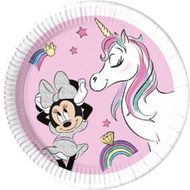 Disney Minnie Mouse Unicorn gebakbordjes party ø 19,5 cm. 8 st.