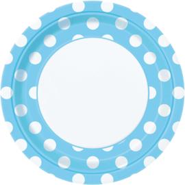 Licht blauwe met witte stippen bordjes ø 21,9 cm. 8 st.