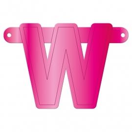 Banner letter W fuchsia