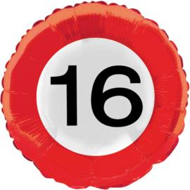 Folieballon verkeersbord 16 jaar ø 45 cm.