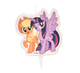My Little Pony taart kaars Applejack en Twilight Sparkle 6 cm.