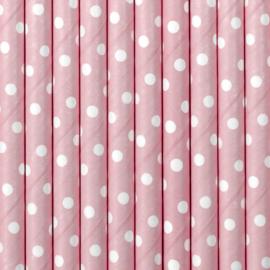 Rietjes roze met witte stippen 10 st.