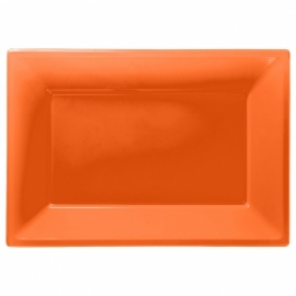 Oranje wegwerp serveerschalen set 32 x 23 cm. 3 st.