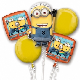 Minions folieballonnen boeket 5-delig