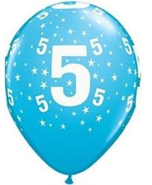 Leeftijd ballonnen stars 5 jaar blauw ø 28 cm. 6 st.