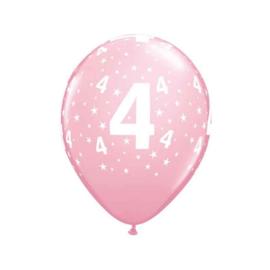 Leeftijd ballonnen 4 jaar roze ø 28 cm. 6 st.