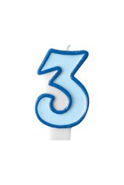 Taart kaars blauw 3 jaar 7,5 cm.
