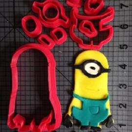 Minions Kevin 3D koekjes- fondant uitsteker 10 cm.