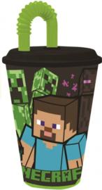 Minecraft drinkbeker met rietje 430 ml.