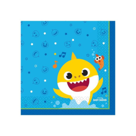 Baby Shark servetten 32,7 x 32,7 cm. 16 st.