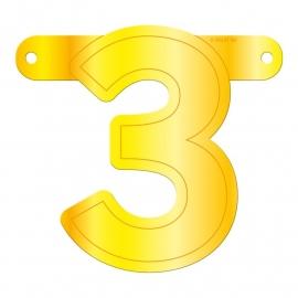 Banner cijfer 3 geel