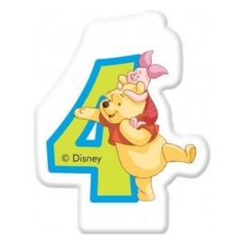 Disney Winnie de Poeh en Knorretje 4e verjaardag taart kaars