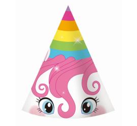 Rainbow Unicorn feesthoedjes 6 st.