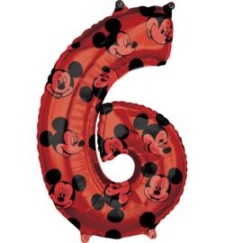 Disney Mickey Mouse folieballon 6 jaar 66 cm.