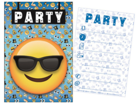 Smiley uitnodigingen party 5 st.